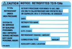 R-134a retrofit, R134a, R134a Label